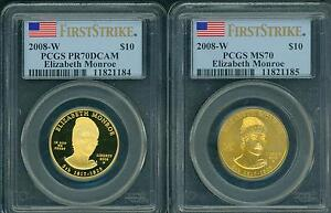 Click now to see the BUY IT NOW Price! 2008 W $10 GOLD SPOUSE ELIZABETH MONROE PCGS PR70 PF70 & MS70 FIRST STRIKE FS