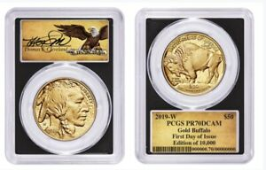 Click now to see the BUY IT NOW Price! 2019 W 1 OZ $50 GOLD BUFFALO PROOF $50 PCGS PR70 FDOI THOMAS CLEVELAND SCROLL