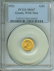 1922 G$1 GRANT WITH STAR   COMMEMORATIVE GOLD DOLLAR PCGS MS67 MS 67
