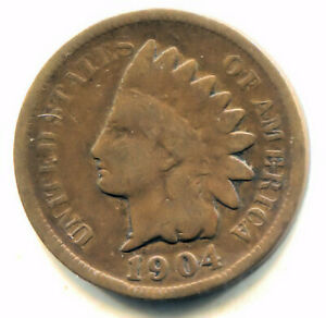 1904 INDIAN HEAD PENNY   U.S. AMERICAN ONE CENT COIN