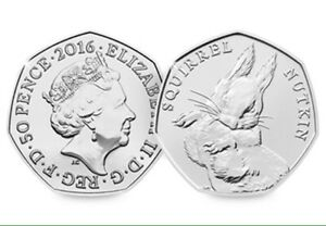 SQUIRREL NUTKIN BEATRIX POTTER 50P FIFTY PENCE COIN 2016 UNCIRCULATED