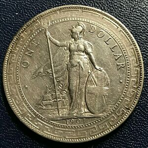 1901 GREAT BRITAIN SILVER TRADE DOLLAR  CROWN COIN