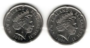2006 AND 2008 NEW ZEALAND 20 CENTS  A
