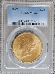 1899 US GOLD $20 LIBERTY HEAD DOUBLE EAGLE   PCGS MS64 NICE  1899 P BETTER DATE