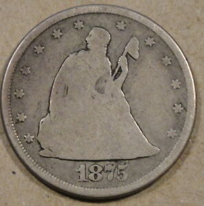 1875 CC TWENTY CENT PIECE NICE MEDIUM GREY LOWER GRADE BETTER DATE COIN