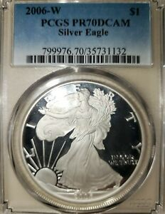 2006 W PROOF AMERICAN SILVER EAGLE $1   PCGS PR70DCAM   PERFECTION