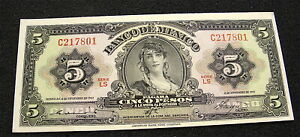 1961    MEXICO 5 PESO CURRENCY NOTE    CLEAN CRISP