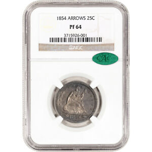 Click now to see the BUY IT NOW Price! 1854 US SEATED LIBERTY SILVER QUARTER PROOF 25C   ARROWS   NGC PF64 CAC VERIFIED