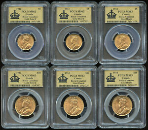 Click now to see the BUY IT NOW Price! ROYAL CANADIAN GOLD HOARD PCGS SET OF $5 & $10 COINS 1912 1913 & 1914 MS63