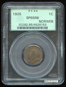 Click now to see the BUY IT NOW Price! 1925 ONE CENT SPECIMEN   PCGS SP65RB   ROYAL CANADIAN MINT   KM28 KEY DATE