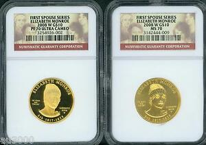 Click now to see the BUY IT NOW Price! 2008 W $10 GOLD SPOUSE ELIZABETH MONROE NGC PR70 PF70 & MS70 2 COINS SET