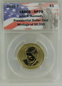 2015 P REVERSE PROOF KENNEDY PRESIDENTIAL DOLLAR ANACS RP70