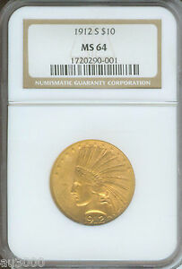 1912 S $10 INDIAN EAGLE NGC MS64 CERTIFIED MS 64  DATE GOLD COIN