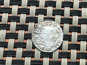 AUTHENTIC MEDIEVAL HUNGARY AR DENAR 1584 RUDOLPH II HABSBURG DYNASTY VIRGIN MERY
