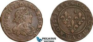 AD575 FRANCE LOUIS XIII DOUBLE TOURNOIS 1638 PARIS