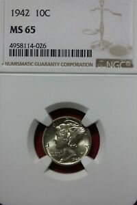 1942 P MS 65 MERCURY DIME NGC CERTIFIED GRADED SLAB COMBINED SHIPPING OCE 89