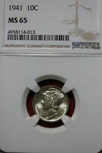 1941 P MS 65 MERCURY DIME NGC CERTIFIED GRADED SLAB COMBINED SHIPPING OCE 35