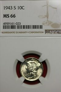 1943 S MS 66 MERCURY DIME NGC CERTIFIED GRADED SLAB COMBINED SHIPPING OCE 848