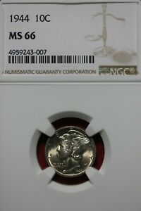 1944 P MS 66 MERCURY DIME NGC CERTIFIED GRADED SLAB COMBINED SHIPPING OCE 1100