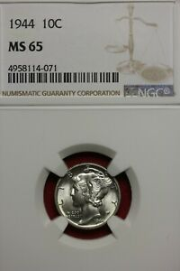 1944 P MS 65 MERCURY DIME NGC CERTIFIED GRADED SLAB COMBINED SHIPPING OCE 810