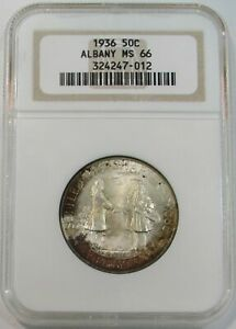 1936 SILVER ALBANY NY COMMEMORATIVE HALF DOLLAR COIN NGC MINT STATE 66