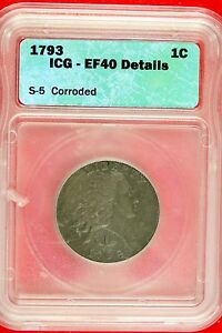 1793 WREATH LARGE CENT ICG XF40 DETAILS LETTERED EDGE B9823