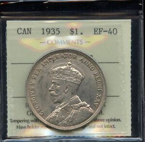 Click now to see the BUY IT NOW Price! 1935 JOP TYPE 2 VARIETY CANADA SILVER DOLLAR   ICCS EF 40
