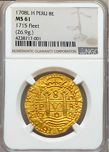 Click now to see the BUY IT NOW Price! PERU 1708 8 ESCUDOS NGC 61 1715 FLEET PIRATE GOLD COINS SHIPWRECK TREASURE COIN