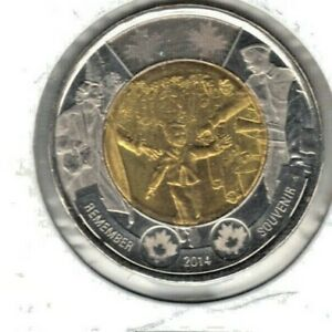 CANADA 2014 WAIT FOR ME DADDY BU TWO DOLLAR COIN FROM MINT ROLL