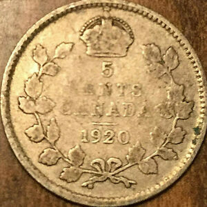 1920 CANADA SILVER 5 CENTS COIN