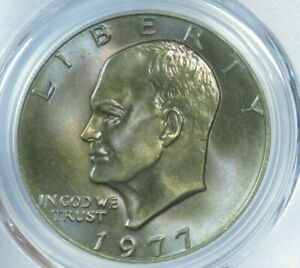 1977 P IKE EISENHOWER DOLLAR NICE COLOR BLUES AND PURPLES  PCGS MS65  AT0297C/RN