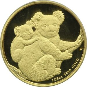 2008 P AUSTRALIA KOALA $5 GOLD 1/25TH OZ PCGS GEM PROOF DCAM. FIRST STRIKE