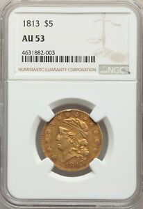 1813 US GOLD $5 CAPPED BUST HALF EAGLE   NGC AU53