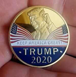 DONALD TRUMP 2020 ELECTION CHALLENGE COIN 24K GOLD PLATED KEEP AMERICA GREAT SL