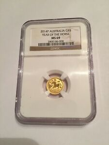 2014 P AUSTRALIA $5.00 GOLD YEAR OF THE HORSE. NGC GRADED MS 69.