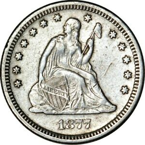 1877 S 25C SEATED LIBERTY QUARTER VF SCRATCHES & CLEANED   K7345