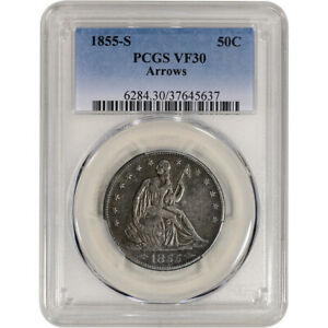 Click now to see the BUY IT NOW Price! 1855 S US SEATED LIBERTY SILVER HALF DOLLAR 50C   ARROWS   PCGS VF30