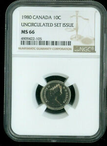 1980 CANADA 10 CENT UNCIRCULATED MINT SET NGC MS66