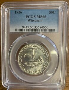 1936 50C WISCONSIN TERRITORIAL COMMEMORATIVE HALF DOLLAR PCGS MS66 660
