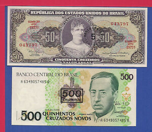 BRAZIL 2 NOTES 2 SIZES 2 DIFFERENT DECADES BOTH OVPTS SEE DESCRIPTION