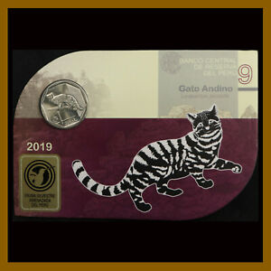 PERU 1 SOL COIN IN BANK OFFICIAL BLISTER 9 2019 ANDEAN ANDES MOUNTAIN CAT UNC