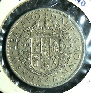 NEW ZEALAND   1948   HALF  1/2  CROWN   GREAT COIN