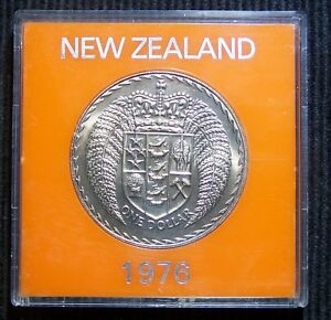 NEW ZEALAND   1976   1 DOLLAR COIN IN CASE   GREAT COIN