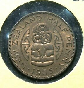 NEW ZEALAND   1955   HALF  1/2  PENNY AND ONE PENNY   2 GREAT COINS