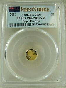 2016 COOK ISLAND POPE FRANCIS $5 DOLLAR GOLD COIN PCGS PR69DCAM FIRST STRIKE