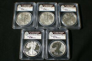 2011  PCGS  SILVER EAGLE 25TH ANNIVERSARY SET 1ST STRIKE JOHN MERCANTI SIGNED