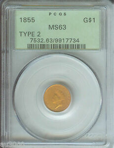 Click now to see the BUY IT NOW Price! 1855 TYPE 2 $1 GOLD DOLLAR G$1 PCGS MS63 OLD GREEN HOLDER OGH PREMIUM QUALITY PQ