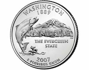 2007 P WASHINGTON STATE QUARTER   PHILADELPHIA MINT   BU CONDITION