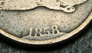 1858 FLYING EAGLE CENT PENNY ERROR COIN DIE BREAK CUD AT DATE ?        Q474