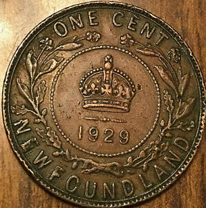 1929 NEWFOUNDLAND LARGE CENT PENNY